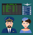 Pilot and stewardess in uniform airport character