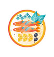 plate with seafood dish sea fish with slices of vector image vector image