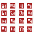 red fire emergency sign collection vector image vector image