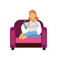 redhead teen girl sitting on armchair using tablet vector image vector image