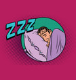 retro man sleeping in bed vector image vector image
