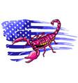 scorpion with american flag cartoon close vector image