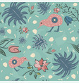 seamless floral pattern with exotic kiwi bird vector image vector image