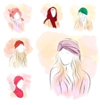 Set of six silhouette woman in turban vector image