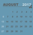 Simple calendar template of august 2017 vector image vector image