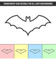 simple outline transparent bat icon on different vector image vector image