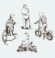 sketches kids on bikes on city vector image vector image