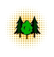 Three tree comics icon vector image