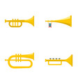 trumpet horn musical instrument icons set flat vector image vector image