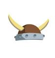 viking horned helmet ancient costume vector image
