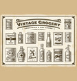 vintage grocery set one color vector image
