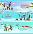 winter recreation banners set vector image vector image
