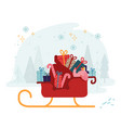 woman riding in santa claus sleigh with huge sack vector image