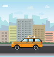 yellow taxi car in front city silhouette and vector image vector image