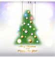 happy new year and merry christmas tree card or vector image