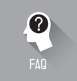 Human head with question mark symbol vector image