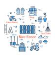 06 blue gardening - nice fence vector image