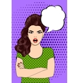 Angry Woman in vintage style pop art vector image