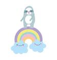 bashower cute sloth rainbow with clouds cartoon vector image
