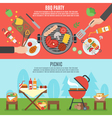 BBQ party banner set vector image vector image