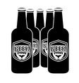 black brown bottles of beer icon image vector image vector image