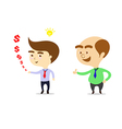 boss is happy that businessman can make more money vector image vector image