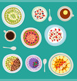breakfast oatmeal porridge with berries top view vector image vector image