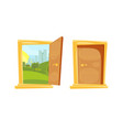 closed and opened door with sunset landscape vector image vector image