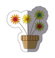 color sticker silhouette with flower in pot vector image