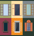 colorful decorative opened windows set vector image