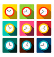 colorful flat clock icons set vector image vector image