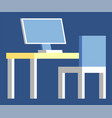 computer device with screen on table workplace vector image vector image