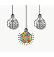 creative thinking human brain as light bulb vector image vector image