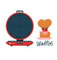 cute round waffle iron cartoon motif set hand vector image