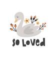 cute swan and flowers