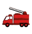 drawing truck fire rescue urgency attention vector image vector image