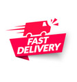 fast delivery label web banner with truck icon vector image