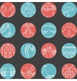 Flat round line icons for seafood vector image vector image