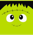 frankenstein zombie monster square face icon vector image