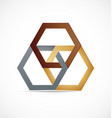 geometrical abstract metal hexagon icon logo vector image