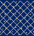 gold heart seamless pattern blue-white geometric vector image
