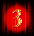 gold numbers 3 greeting card vector image