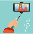 hipster makes selfie on background the vector image vector image