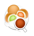 Hot Coffee with Bun Bread Filled with Cream vector image