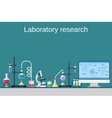 Lab worker table computer chemical research vector image vector image
