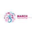 march 8th womens day pink flower banner design vector image vector image
