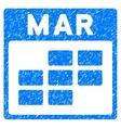 March Calendar Grid Grainy Texture Icon vector image