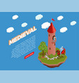 medieval isometric composition vector image vector image