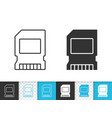 memory card simple black line icon vector image