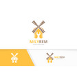 mill and repair logo combination farm and vector image vector image